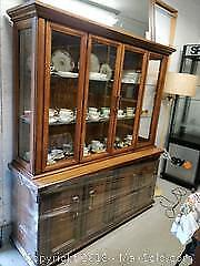Solid Wood Two-piece China Cabinet - C