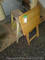 Vintage Step Stool Ladder and TV Table A