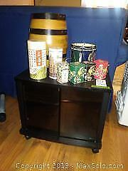 TV Stand, Barrel and Tins A
