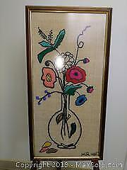 Floral Embroidery on Burlap Framed