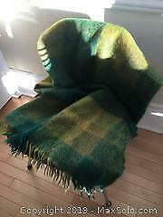 Green Checked Mohair and Wool Throw