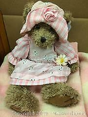 O. V. Brand pure wool Pink and white blanket and Blossom bear