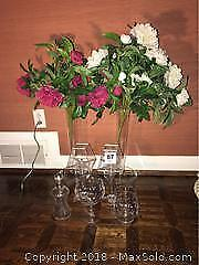 Glassware and Silk Flowers- A