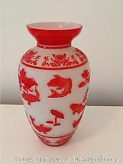 Chinese Vase Red And White Glass Signed