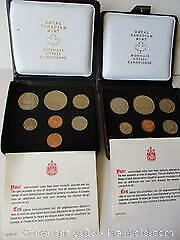 Two Royal Canadian Mint, Double Penny, Canoe Silver Dollar Sets Of Canadian Currency Coins. 1976 & 1975 Canoe Dollar Set