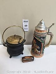 German Beer Stein, Cast Iron Fire Starter Smudge Pot and B F Cable Car