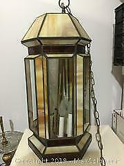 Large Vintage Stained Glass Light Fixture.