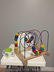 IKEA high chair, bead toy; sippy cup; misc toy