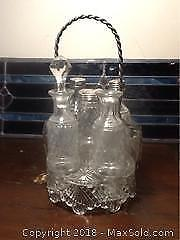 Antique Glass Cruet Set