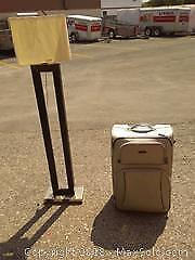 Floor Lamp, Tracker Brand Suitcase, Leather Bound Tower
