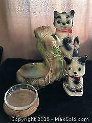 Vintage Carnival Chalkware Cats x 2
