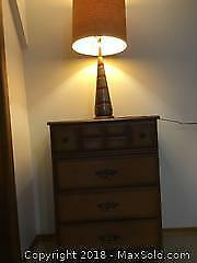 Tallboy Dresser and Retro Table Lamp