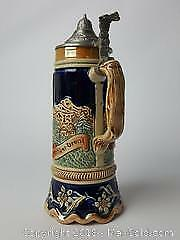 German Lidded Music Playing Beer Stein