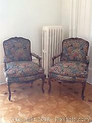 Pair Of French Fruitwood Bergere Chairs