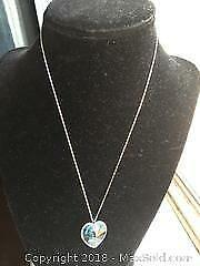 Blue Swarovski Heart Crystal Necklace 23