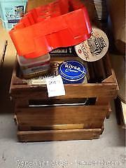 Wooden Crate With Misc Tins