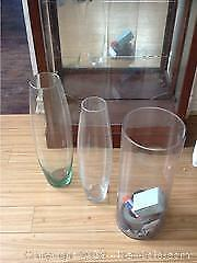 3 Large Glass Vases From Italy