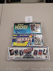 3 sealed complete sports card sets. Hockey and Baseball. - A