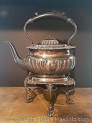 1880s Silver Plate Tea Pot on Warming Stand
