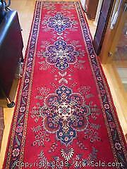Vintage All Wool. Hand Woven. Wide & Long Size, Persian Heriz Rug Runner. About 13 Foot X 3.5 Foot.