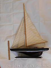 34 high Hand Made Wood Sail Boat / Pond Boat on stand