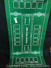 """Poker Texas Holdem Layout 36""""x 72"""" Table Top Green Mat Pad Portable Felt Cover A"""
