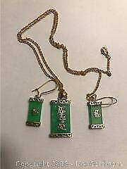 Green And Gold Necklace And Earring Set.