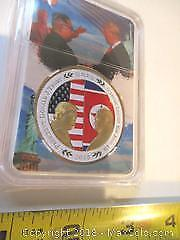 2018 Singapore Peace Talks Between President Trump And The Supreme Leader Kim-Jong-Un, Gold Embossed Coin.