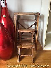 Vintage Wooden Step Stool A