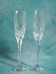 NEW Mikasa Crystal Champagne Flute Glasses. ENGLISH GARDEN Set of Two
