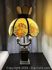 Vintage Table Lamp. Stained Glass Shade Love Story