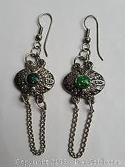 Silver Toned Earrings With Hooks For Pierced Ears and a Paua Shell Green Center
