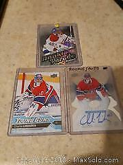 3 Charlie Lindgren Rookie Hockey Cards (One Autographed)
