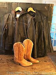 Vintage Leather, Jackets and Cowboy Boots Etc.