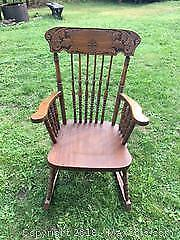Antique Press Back Oak Nursery Rocker - Cat B