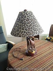 Lamp with wooden bedside table