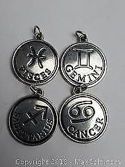Silver Toned Astrological Symbols Includes Cancer, Sagittarius, Gemini and Pisces