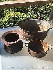 3 Copper Garden Pots