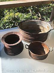 3 Copper Garden Pots