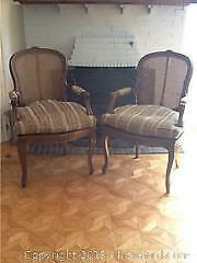 Pair Of Cane Back Bergere French Chairs