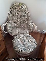 Rattan Chair and Stool with cushions