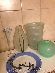 Assorted art glass items green ball vase, Blue and white signed plate
