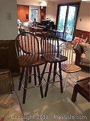 Wooden Chair And 2 Bar Stools A