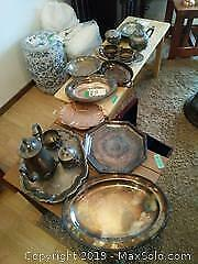 Silver Plate Trays, Teapot And More A