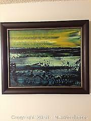 Andrew Plum signed landscape painting listed British/ Canadian artist.