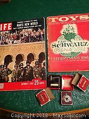 Life mag, Oct. 7 1957, old toy catalogue 1964 , 2 rare Seiko hand operated miniature music boxes.