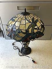 Large Lead & Stain Glass Tiffany Inspired Dragon Fly Table Lamp