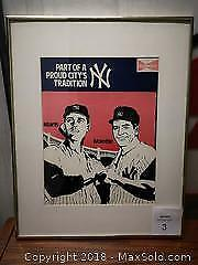 New York Yankees Framed and Matted. Budweiser Maris & Mantle Picture - A