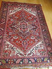 Hand Woven, All Wool Semi-Antique, Thick Persian Heriz Rug.
