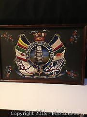 Naval interest WW1 hand painted commemorative art work painting on board.
